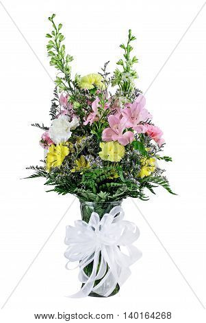Florist Bouquet of mixed flowers in a vase with ribbon isolated against a white background.