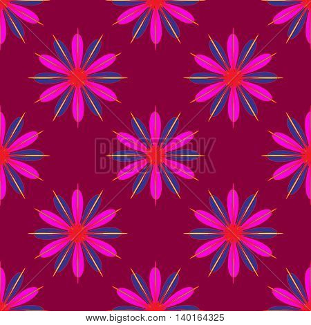 Geometric seamless pattern with fractal flower in pink and violet colors on magenta red background