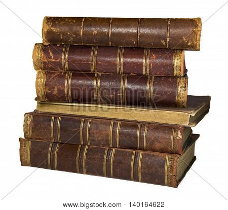 Antique books with leather spines on a white background