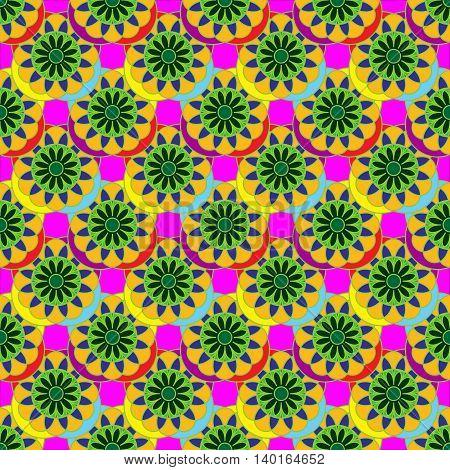 Multicolor fractal flower seamless pattern on pink background.