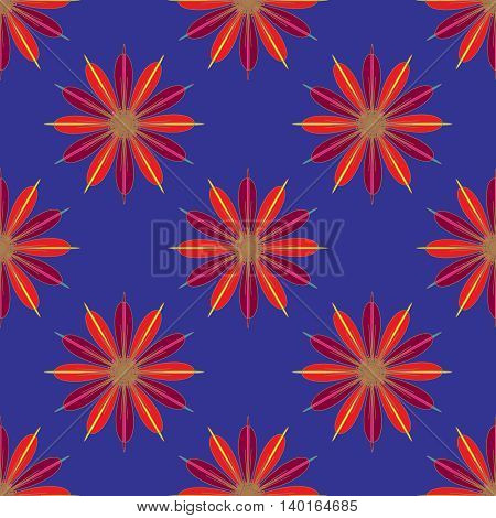 Geometric seamless pattern with fractal flower in red and magenta colors on deep blue background.
