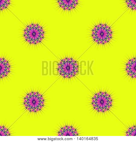 Abstract seamless pattern with bright multibeam fractal mandala on a yellow background