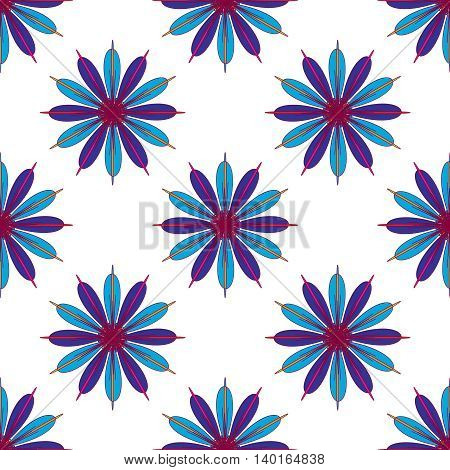 Geometric seamless pattern with fractal flower in blue and magenta colors on white background.