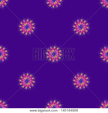 Abstract seamless pattern with bright multibeam fractal mandala on a deep violet background