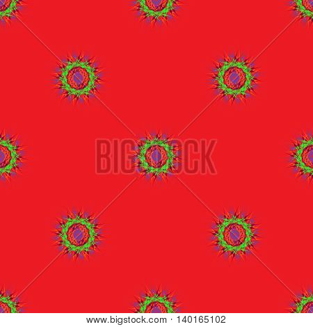 Abstract seamless pattern with bright multibeam fractal mandala on a red background