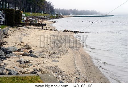 The shoreline of Wequetonsing, Michigan during December.