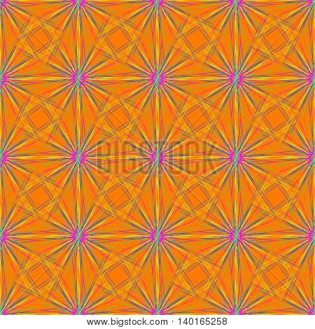 Abstract seamless pattern with multibeam furry fractal star on a deep orange background.