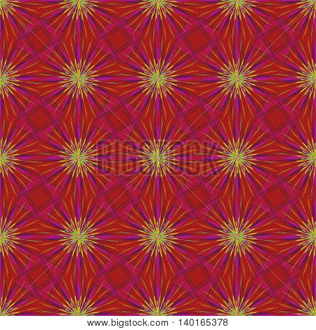 Abstract seamless pattern with multibeam furry fractal star on a dark red background.