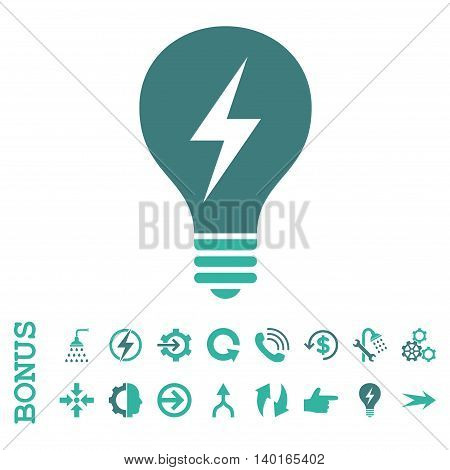 Electric Bulb vector bicolor icon. Image style is a flat pictogram symbol, cobalt and cyan colors, white background.