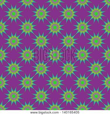 Abstract seamless pattern with fractal star on violet background.