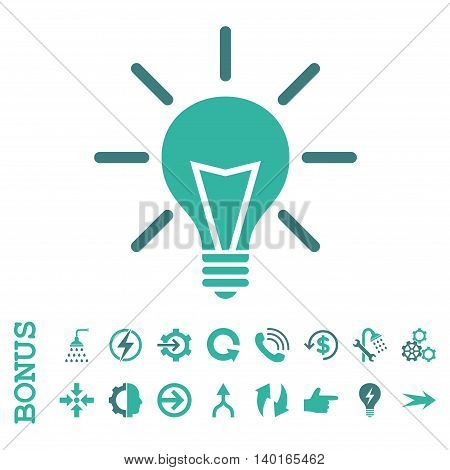 Electric Light vector bicolor icon. Image style is a flat pictogram symbol, cobalt and cyan colors, white background.