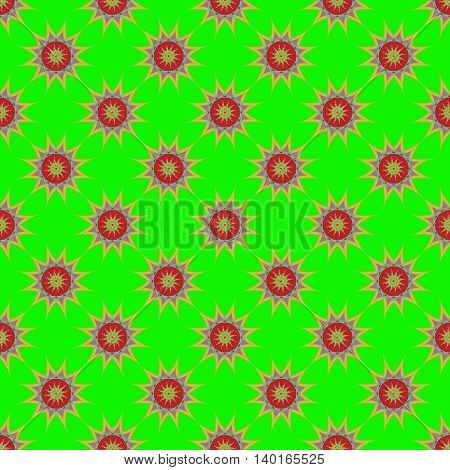 Abstract seamless pattern with fractal star on light green background.