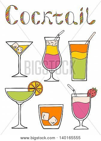 Cocktail glass drink set text graphic art pink yellow green orange color isolated illustration vector