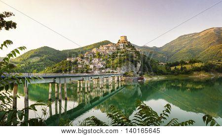 pictorial landscape - lake Turano and village Castel di Tora, Italy