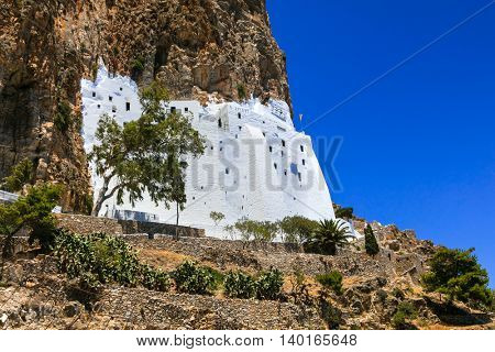 Unique monasery Panagia Hozovitissa on the cliff, Amorgos island