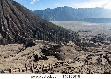 View from top of mountain Bromo to see stairs and temple.
