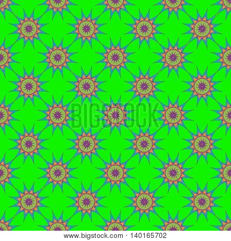 Abstract seamless pattern with fractal star on bright green background.