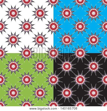 Set of four abstract geometric seamless pattern on color background.