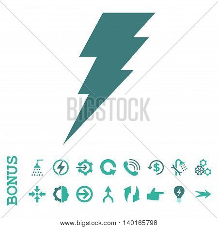 Execute vector bicolor icon. Image style is a flat iconic symbol, cobalt and cyan colors, white background.
