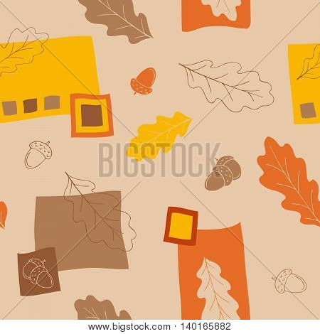 Oak leaf acorn graphic yellow orange red brown seamless pattern illustration vector