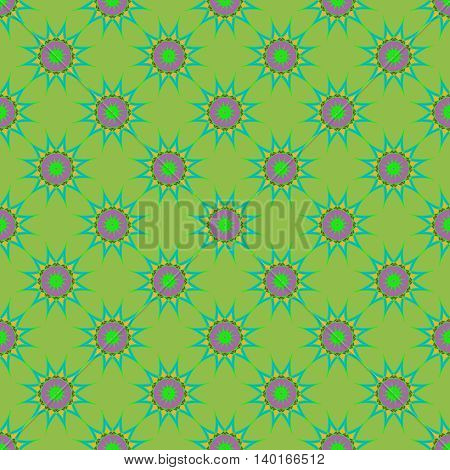 Abstract seamless pattern with fractal star on deep green background.
