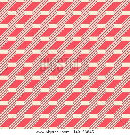 Abstract seamless pattern in retro colors. Stair step located rectangles and diagonal lines. Vector illustration for fabric, paper and other