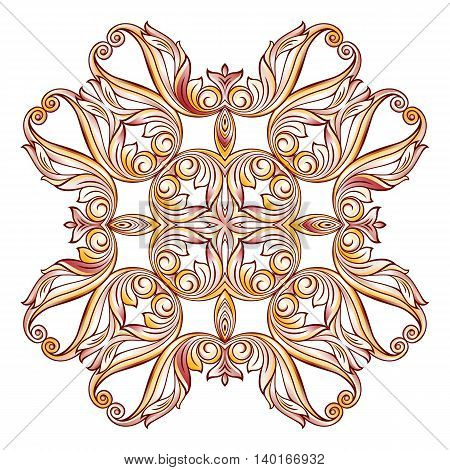 Abstract floral pattern in pastel rose pink and yellow shades. Illustration on white background