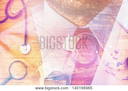 Corruption in healthcare industry multilayered image with general medical practitioner office supplies.