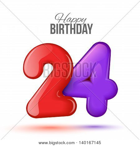 Sample greeting card to the 24 th anniversary. Air 3D red numbers from the figures. Invitation card to the party with balloons on a white background. Suitable for printing, web delivery, the jubilee