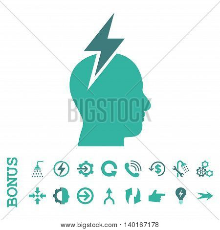 Headache vector bicolor icon. Image style is a flat iconic symbol, cobalt and cyan colors, white background.