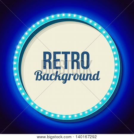Blue round retro frame with lights. Realistic 3D frame with lights and white background for your text messages, promotions or advertising. Blue neon light falls on the black wall. illustration
