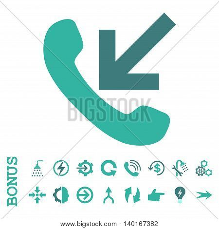 Incoming Call vector bicolor icon. Image style is a flat iconic symbol, cobalt and cyan colors, white background.