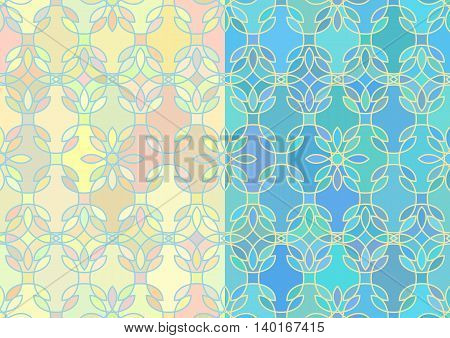 Seamless patterns with abstract stained glass ornament in yellow and blue colors. Kaleidoscope background in two variants. Beach and sea summer concept. Samples in swatch panel. Vector illustration