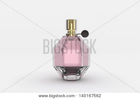 3d rendering of a beautiful perfume bottle on white background