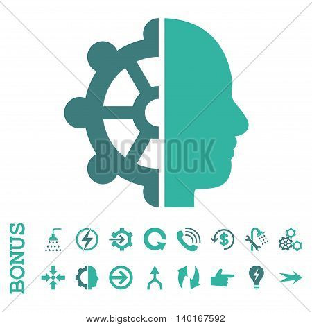 Intellect vector bicolor icon. Image style is a flat iconic symbol, cobalt and cyan colors, white background.