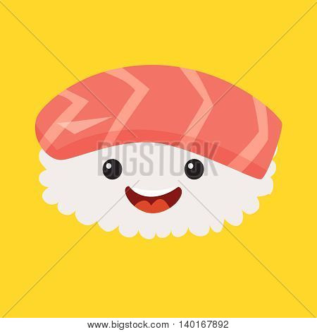 Fun sashimi vector cartoon character. Cute sashimi's faces with salmon japanese food. Happy sushi characters vector illustration isolated on white background
