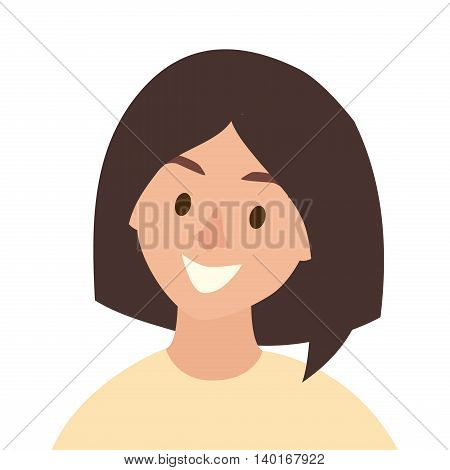 Happy girls icon vector. Young woman icon illustration. Face of people icon flat cartoon style. Person people head isolated avatar on white background