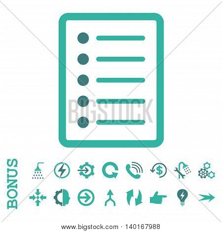List Page vector bicolor icon. Image style is a flat iconic symbol, cobalt and cyan colors, white background.