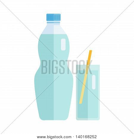 Plastic bottle and glass with beverage. Vector in flat style design. Sweet summer drink concept. Isolated on white background.