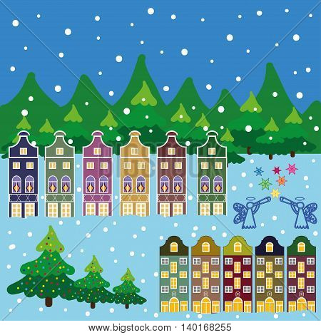 Winter city flat landscape. Colored vector illustration