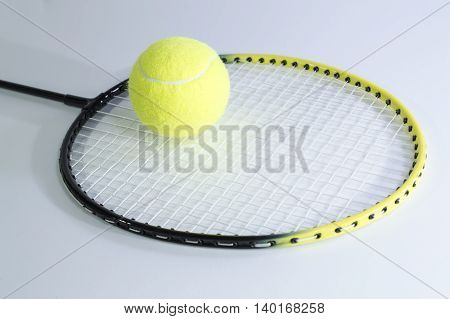 Stock for game in tennis: racket and ball