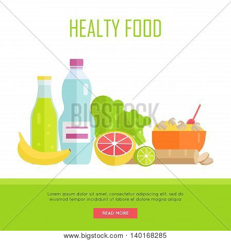 Healthy food concept web banner. Vector in flat design. Illustration of various food cereal, bread, soda, water, fruits and vegetables on white background