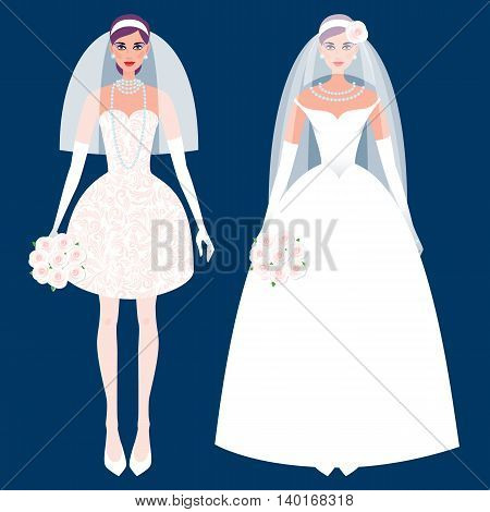 Cute girl in a wedding dress. Holiday vector illustration. Fashion white bride dress on a black background. The concept of the modern wedding dress and accessories.