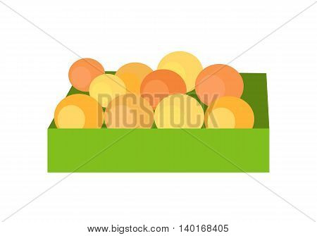 Box with fruits concept vector. Flat style design. Fresh oranges on market. Isolated on white background.