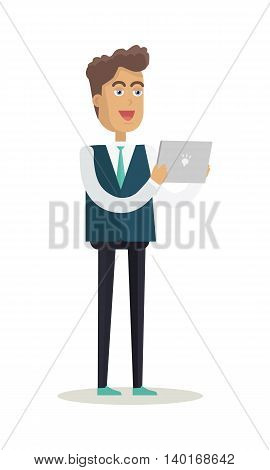 Male character vector. Cartoon in flat style design. Young smiling man standing with tablet in hands. Student, office worker, assistant illustration for educational and business concept, infographics.