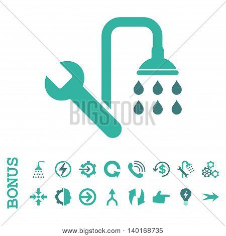 Plumbing vector bicolor icon. Image style is a flat iconic symbol, cobalt and cyan colors, white background.
