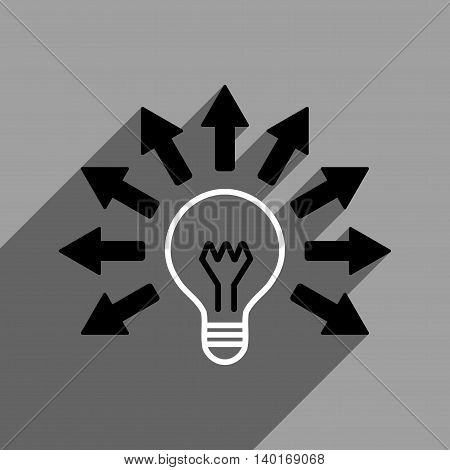 Electric Light Arrows long shadow vector icon. Style is a flat electric light arrows black and white iconic symbol on a gray square background.