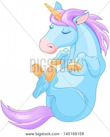 Illustration of cute magic unicorn is sleeping