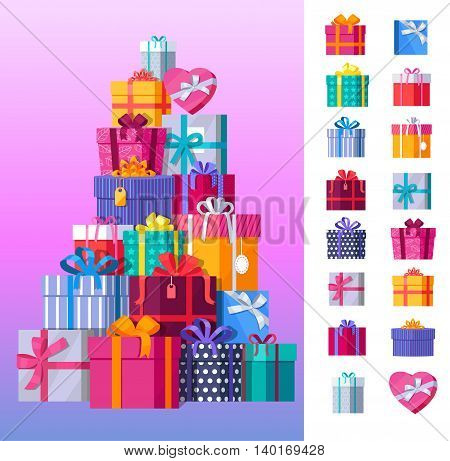 Set of gift boxes vector. Stack of presents in various bright, striped, spotted boxes tied colored ribbons. Beautifully wrapped surprise. Illustration for decoration, event management companies ad.