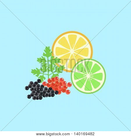 Red and black caviar pattern. Elegant delicacies from the sea concept in flat style design. Seafood illustration for packaging, logos, and patterns. Caviar filed with lemon and herbs.